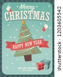 merry christmas card with... | Shutterstock .eps vector #1203605542