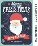 merry christmas card with santa ... | Shutterstock .eps vector #1203609955