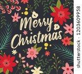typographic merry christmas... | Shutterstock .eps vector #1203609958