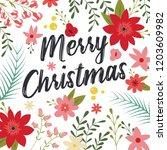 typographic merry christmas... | Shutterstock .eps vector #1203609982