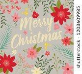 typographic merry christmas... | Shutterstock .eps vector #1203609985