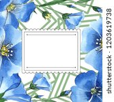 watercolor blue flax flower.... | Shutterstock . vector #1203619738