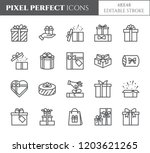 gift boxes icons set with... | Shutterstock .eps vector #1203621265