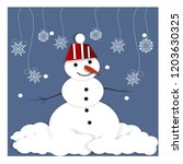 cute funny snowman with... | Shutterstock .eps vector #1203630325