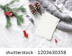 christmas composition. blank... | Shutterstock . vector #1203630358