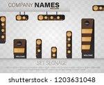 set signage.direction pole ... | Shutterstock .eps vector #1203631048