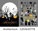 vector halloween design set... | Shutterstock .eps vector #1203633778
