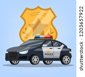 police car or automobile with... | Shutterstock .eps vector #1203657922