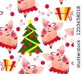 christmas seamless vector... | Shutterstock .eps vector #1203658018