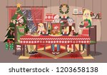 happy family in cozy sweater... | Shutterstock .eps vector #1203658138