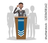 fear of public speaking or... | Shutterstock .eps vector #1203658162