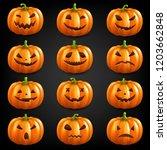 pumpkin set isolated black... | Shutterstock . vector #1203662848