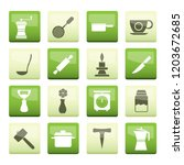 kitchen and household tools... | Shutterstock .eps vector #1203672685