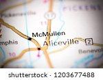 mcmullen. alabama. usa on a map | Shutterstock . vector #1203677488