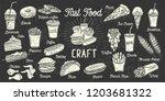 fast food menu. set monochrome... | Shutterstock .eps vector #1203681322