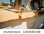 old worn circular saw power... | Shutterstock . vector #1203683188