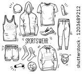 hand drawn set of men's...   Shutterstock .eps vector #1203689212