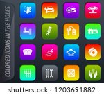 car shop colored icons in the... | Shutterstock .eps vector #1203691882