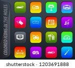 car shop colored icons in the... | Shutterstock .eps vector #1203691888