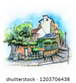 watercolor sketch of typical... | Shutterstock . vector #1203706438