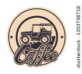 warranty seal original coffee... | Shutterstock .eps vector #1203738718