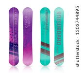winter sport icons of snowboard.... | Shutterstock .eps vector #1203744895