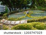flower clock in kobe  japan....   Shutterstock . vector #1203747325