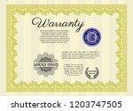 yellow retro warranty template. ... | Shutterstock .eps vector #1203747505