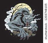 ware wolf dark night | Shutterstock .eps vector #1203748105
