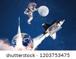astronaut and moon.space...   Shutterstock . vector #1203753475