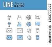 line icons set   contact us | Shutterstock .eps vector #1203777022