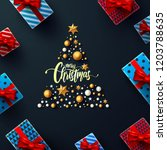 christmas and new years black... | Shutterstock .eps vector #1203788635
