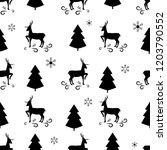 black christmas tree  snowflake ... | Shutterstock .eps vector #1203790552