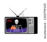 halloween news old tv. skeleton ... | Shutterstock .eps vector #1203799105