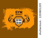 no pain no gain. gym workoun... | Shutterstock .eps vector #1203801205