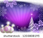 christmas greeting card in... | Shutterstock .eps vector #1203808195