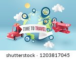 time to travel  paper art of... | Shutterstock .eps vector #1203817045