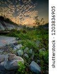 beautiful golden sky at kali... | Shutterstock . vector #1203836905