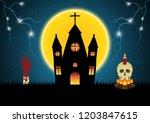 halloween castle hand skull... | Shutterstock .eps vector #1203847615