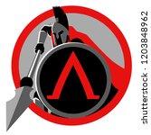 symbol of spartan warrior with... | Shutterstock .eps vector #1203848962