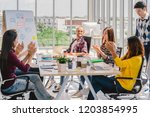group of asian and multiethnic... | Shutterstock . vector #1203854995