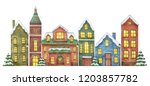 winter illustration with houses ... | Shutterstock . vector #1203857782