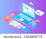 workspace with laptop and wifi... | Shutterstock .eps vector #1203858775