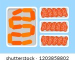 sausages and meat steaks fresh... | Shutterstock .eps vector #1203858802