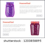 preserved food banners  berries ... | Shutterstock .eps vector #1203858895