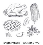 turkey dish and corn maize ... | Shutterstock .eps vector #1203859792