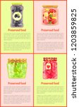 preserved food  fruits and... | Shutterstock .eps vector #1203859825
