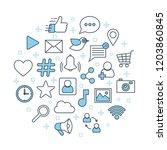 social network poster. thin... | Shutterstock .eps vector #1203860845