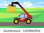 bale stacker baler on field... | Shutterstock .eps vector #1203862042