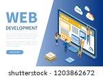 web development  monitor and... | Shutterstock .eps vector #1203862672